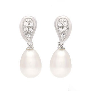 Sterling Silver Freshwater Pearl and Cubic Zirconia Earrings (11-12 mm)
