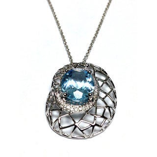 Neda Behnam Soho Boutique 14k White Gold Diamond and Blue Topaz Basketweave Pendant on 18-inch Ch