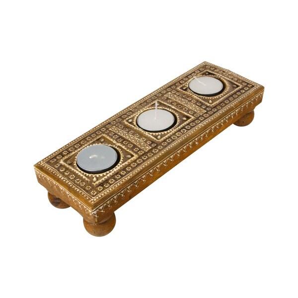 Hand-carved Wooden Tea Light Holder (India)