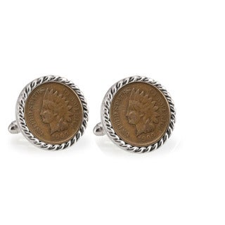 American Coin Treasures Indian Head Penny Silvertone Rope Bezel Cuff Links