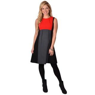 Calvin Klein Women's Sleeveless Round-neck Colorblocked Dress