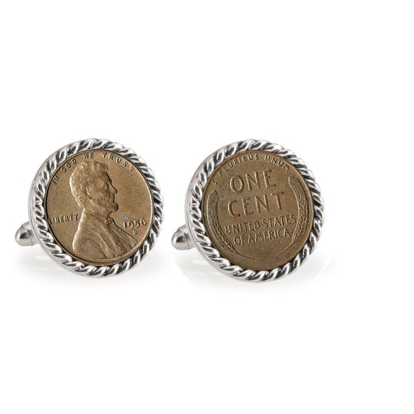 American Coin Treasures Lincoln Wheat-Ear Penny Cuff Silvertone Rope Bezel Cuff Links
