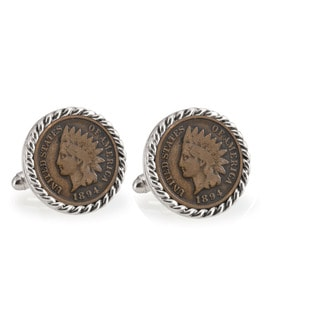 American Coin Treasures 1800's Indian Head Penny Silvertone Rope Bezel Cuff Links