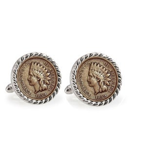 American Coin Treasures 1859 First-Year-of-Issue Indian Head Penny Silvertone Rope Bezel Cuff Links