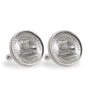 American Coin Treasures Sterling Silver 2004 Westward Journey Keelboat Nickel Cuff Links