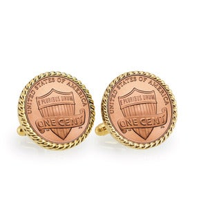 American Coin Treasures Lincoln Union Shield Penny Goldtone Rope Bezel Cuff Links