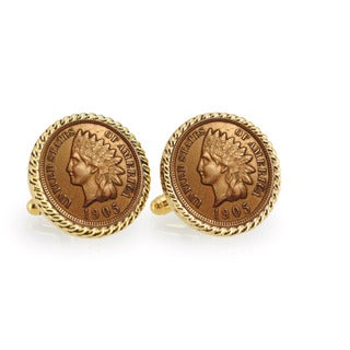 American Coin Treasures Indian Head Penny Goldtone Rope Bezel Cuff Links