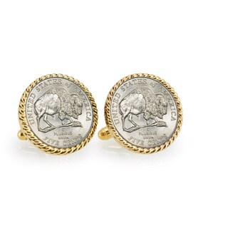 American Coin Treasures 2005 Bison Nickel Goldtone Rope Bezel Cuff Links