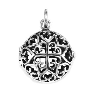 Interconnecting Hearts Round Locket .925 Silver Pendant (Thailand)