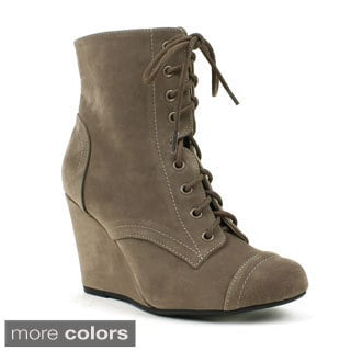 Mark & Maddux Women's 'Stana-07' Stitched Lace-up Wedge Booties