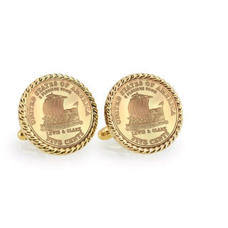 American Coin Treasures Gold-Layered 2004 Keelboat Goldtone Rope Cuff Links
