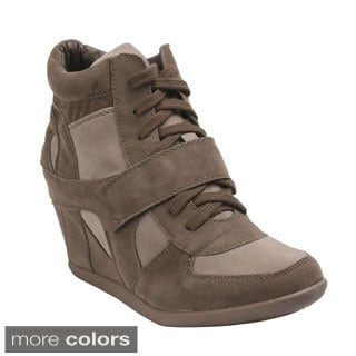 Breckelle's METRO-01W Women's Lace Up Wedge Sneakers