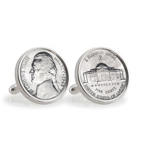 American Coin Treasures Silver Jefferson Nickel Wartime Nickel Sterling Silver Cuff Links