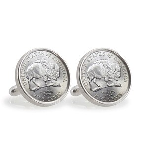 American Coin Treasures 2005 Bison Nickel Sterling Silver Cuff Links