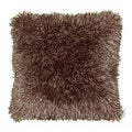 Senses Shag Tri Mocha 18-inch Square Accent Throw Pillow