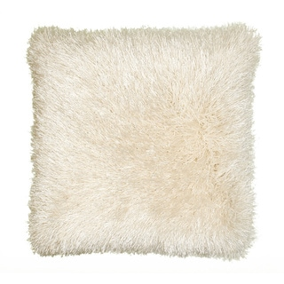 Senses Shag Beige 18-inch Square Accent Throw Pillow