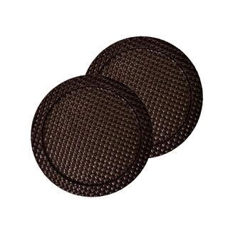 Faux Leather 2-piece Brown Weave Round Charger Set