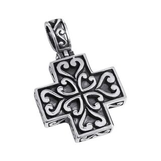 Beautiful Heart Greek Cross .925 Silver Pendant (Thailand)