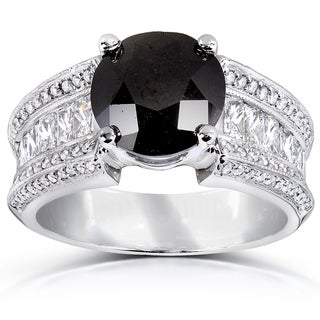 Annello 18k White Gold 5ct TDW Black and White Diamond Ring (G-H, SI1-SI2)