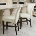 Christopher Knight Home Louigi Ivory Leather Counter Stools (Set of 2)