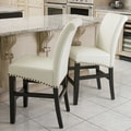 Christopher Knight Home 'Louigi' Ivory Leather Counter Stool (Set of 2)