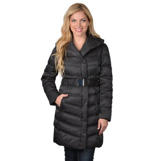 Kenneth Cole Women's Belted Faux Fur Trim Down Coat