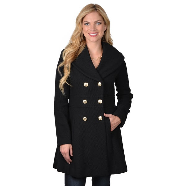 Jessica Simpson Women's Double Breasted Basketweave Coat