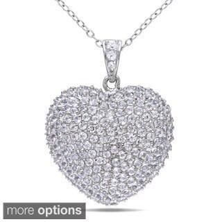 Miadora Silver 6 1/2ct TGW White Topaz Heart Necklace