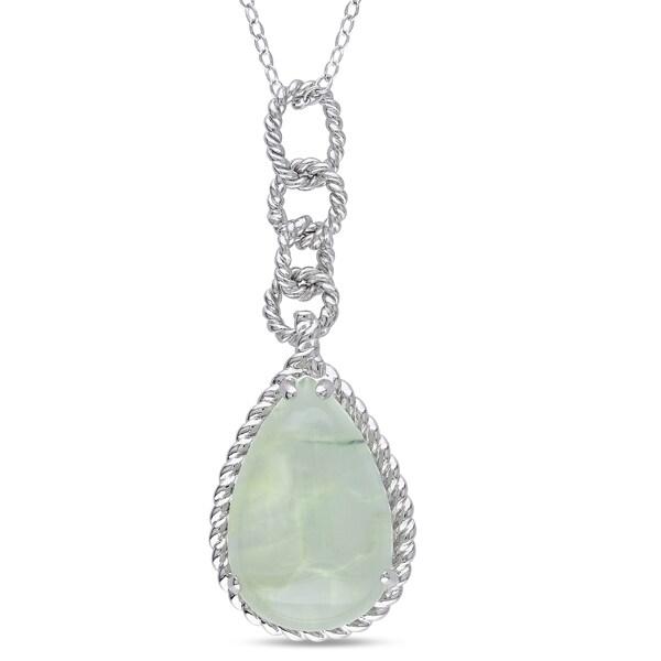 Miadora Sterling Silver 9ct TGW Prehnite Drop Necklace