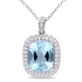 Miadora Sterling Silver 6 7/8ct TGW Blue and White Topaz Necklace