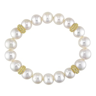 Miadora 14k Yellow Gold Pearl and 3/5ct TDW Diamond Bracelet (H-I, I1-I2)