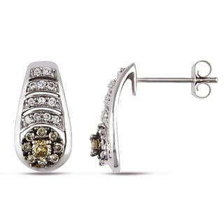 Miadora 14k White Gold 1/2ct TDW White and Brown Diamond Earrings