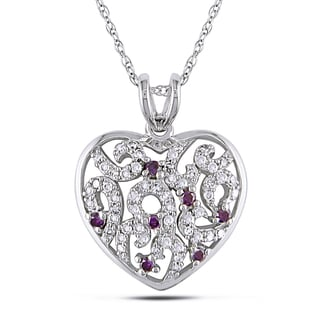 Miadora 10k White Gold 1/4ct TDW Pink and White Diamond Heart Necklace (H-I, I2-I3)
