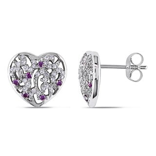 Miadora 10k White Gold 1/3ct TDW Pink and White Diamond Heart Earrings (I2-I3)