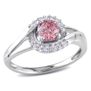 Miadora 14k White Gold 5/8ct TDW Pink and White Diamond Ring