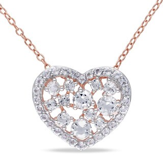 Miadora Rose Plated Silver 2ct TGW White Topaz Heart Necklace