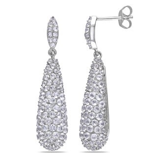 Miadora Sterling Silver 1ct TGW White Topaz Drop Earrings