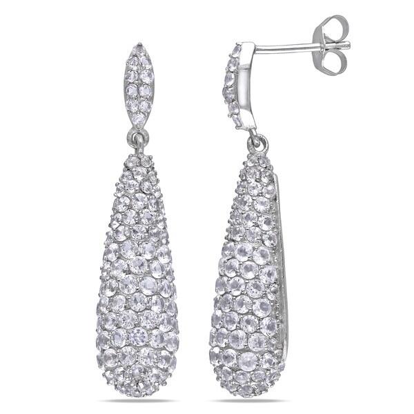 Miadora Sterling Silver 1ct TGW White Topaz Drop Earrings