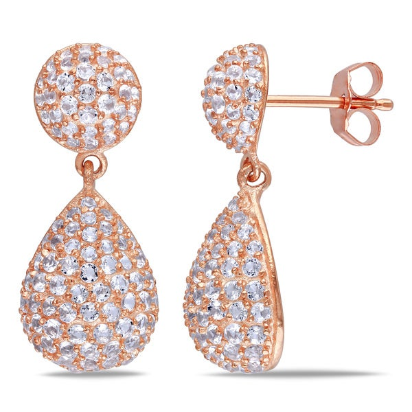 Miadora Rose-Plated Silver White Topaz Drop Earrings