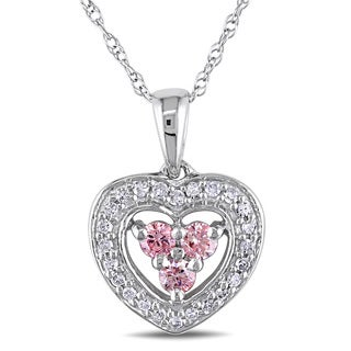 Miadora 14k White Gold 1/3ct TDW Pink and White Diamond Heart Necklace (I1-I2)