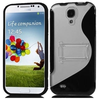 BasAcc Clear/ Black S Shape TPU Case with Stand for Samsung Galaxy S4