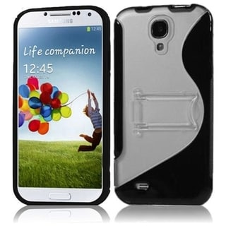 INSTEN S Shape Stand TPU Rubber Candy Skin Transparent Clear Phone Case Cover for Samsung Galaxy S4