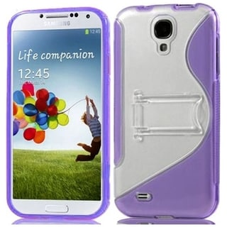 BasAcc Clear/ Purple S Shape TPU Case with Stand for Samsung Galaxy S4