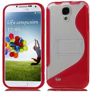 BasAcc Clear/ Red S Shape TPU Case with Stand for Samsung Galaxy S4