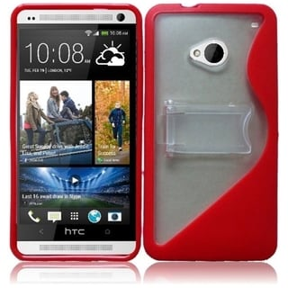 BasAcc Clear/ Red S Shape TPU Case with Stand for HTC One M7