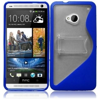 BasAcc Clear/ Blue S Shape TPU Case with Stand for HTC One M7