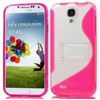 BasAcc Clear/ Hot Pink TPU Case with Stand for Samsung Galaxy S4