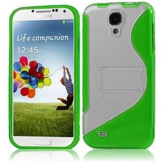BasAcc Clear/ Neon Green TPU Case with Stand for Samsung Galaxy S4