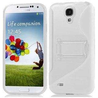 BasAcc Clear/ White S Shape TPU Case with Stand for Samsung Galaxy S4