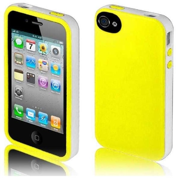 INSTEN Yellow/ White TPU Rubber Candy Skin Phone Case Cover for Apple iPhone 4/ 4S